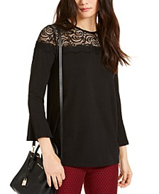 Lace-Yoke Printed Top, Regular & Petite Sizes