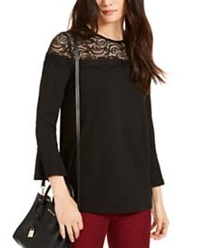Michael Michael Kors Lace-Yoke Printed Top, Regular & Petite Sizes