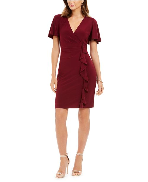 Jessica Howard Cascading-Ruffle Sheath Dress
