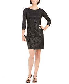 Metallic-Print Jersey Sheath Dress
