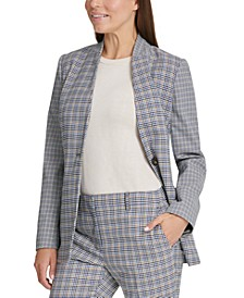 Houndstooth Collarless Blazer