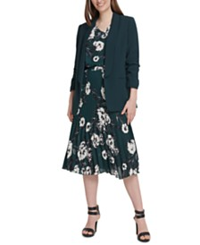DKNY Ruched-Sleeve Open-Front Jacket, Floral-Print Top & Pleated Midi Skirt
