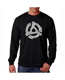 Men's Word Art Long Sleeve T-Shirt- Record Adapter