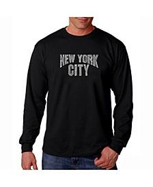 Men's Word Art Long Sleeve T-Shirt- New York City Neighborhoods