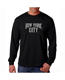 LA Pop Art Men's Word Art Long Sleeve T-Shirt- New York City Neighborhoods