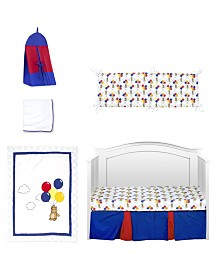 Pam Grace Creations Bears and Balloons 6 Piece Crib Bedding Set