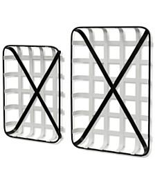 StyleCraft White and Black Farmhouse Traditonal Set of Two Metal Trays