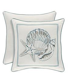 "Water's Edge Aqua 16"" Square Decorative Throw Pillow"