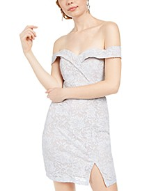 Juniors' Off-The-Shoulder Glitter Lace Dress
