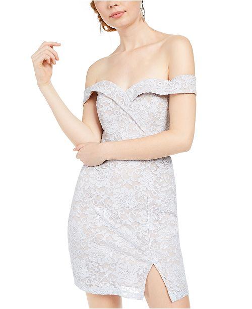 Sequin Hearts Juniors' Off-The-Shoulder Glitter Lace Dress