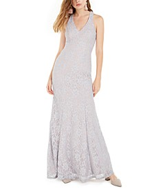 Juniors' Cutout Lace Mermaid Gown