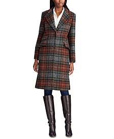 Plaid Reefer Wool Coat