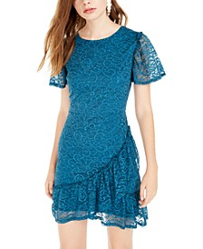 Juniors' Lace Ruffled Dress