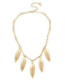 Robert Lee Morris Soho Sculptural Leaf Shaky Frontal Necklace