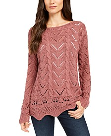 Pointelle-Knit Scalloped-Hem Sweater, Created For Macy's