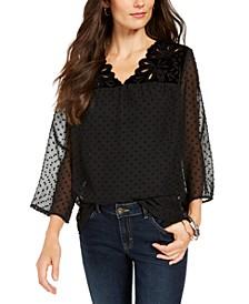 Mixed-Media Sheer-Sleeve Blouse, Created For Macy's