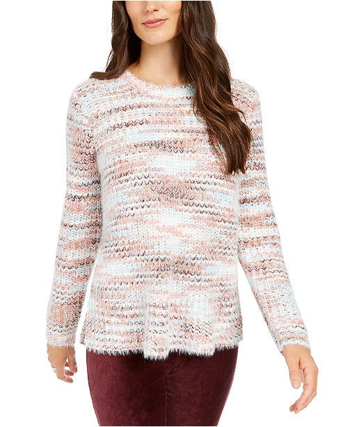 Style & Co Marled Fuzzy Sweater, Created For Macy's