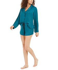 Bardot Satin Long-Sleeve Top & Shorts Pajamas Set