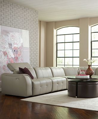 Novara Leather Sectional Living Room Furniture Collection Power Reclining