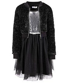 Big Girls 2-Pc. Faux-Fur Jacket & Sequined Belted Dress Set