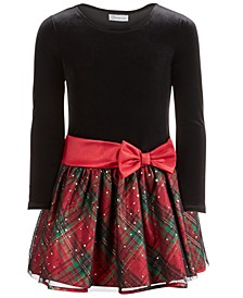 Little Girls Velvet Glitter Plaid Dress