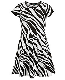 Sequin Hearts Big Girls Zebra-Print Dress