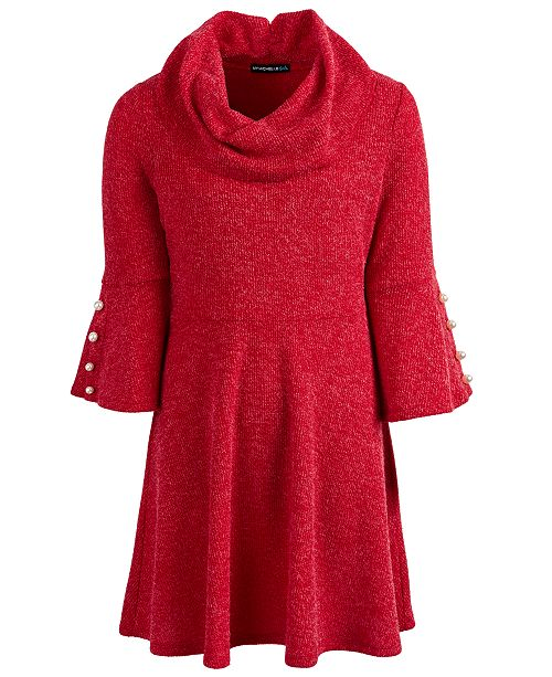 Sequin Hearts Big Girls Cowl Neck Sweater Dress