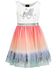 Little Girls Unicorn Rainbow Dress