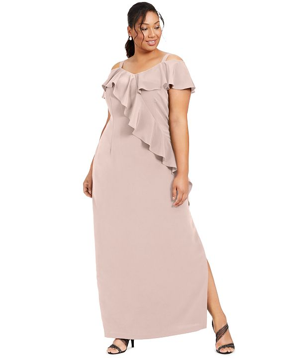 Adrianna Papell Plus Size Ruffled Cold-Shoulder Gown