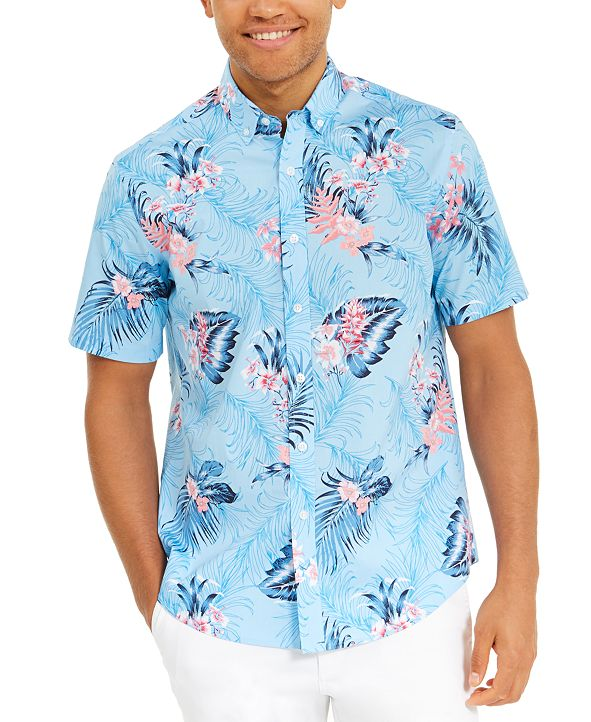 Club Room Men's Winslow Tropical Print Graphic Shirt, Created for Macy's