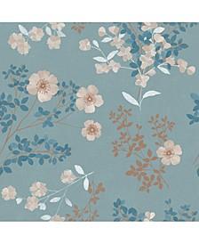 """21"""" x 396"""" Prairie Rose Floral Wallpaper"""
