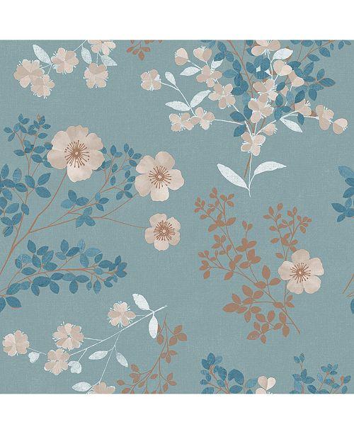 """Wall Vision 21"""" x 396"""" Prairie Rose Floral Wallpaper"""
