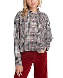 Juniors' Plaid Button-Up Shirt