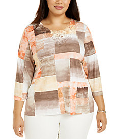 Alfred Dunner Plus Size First Frost Embellished Lace-Collar Top