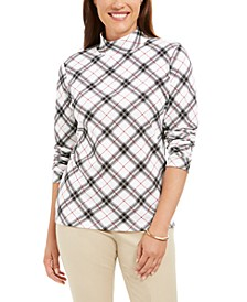 Plaid Printed Mock-Neck Top, Created for Macy's