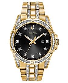 Men's Gold-Tone Stainless Steel & Swarovski Crystal Bracelet Watch 42mm