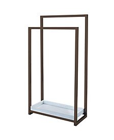 Pedestal 2-Tier Steel Construction Towel Rack with Wooden Case