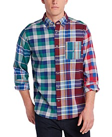 Men's Blue Sail Classic-Fit Colorblocked Plaid Flannel Shirt, Created For Macy's