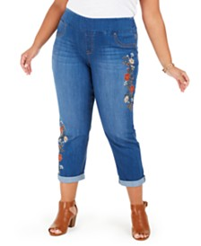 Style & Co Plus Size Ella Embroidered Pull-On Jeans, Created For Macy's