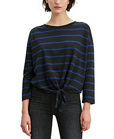 Women's Greta Striped Tie-Hem Cotton Top