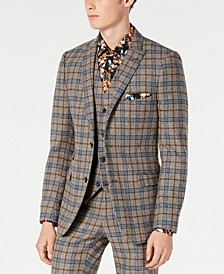 Men's Slim-Fit Plaid Blazer Made With Recycled Wool