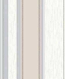 "20.5"" x 369"" Mirabelle Neutral Stripe Wallpaper"