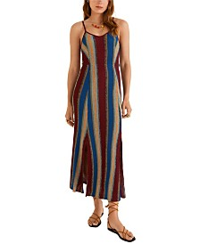 Mango Metallic Striped Dress
