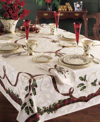 Lenox Holiday Nouveau Jacquard Damask Table Linen Collection