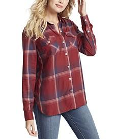 Junior Petunia Plaid Button Up Shirt Top
