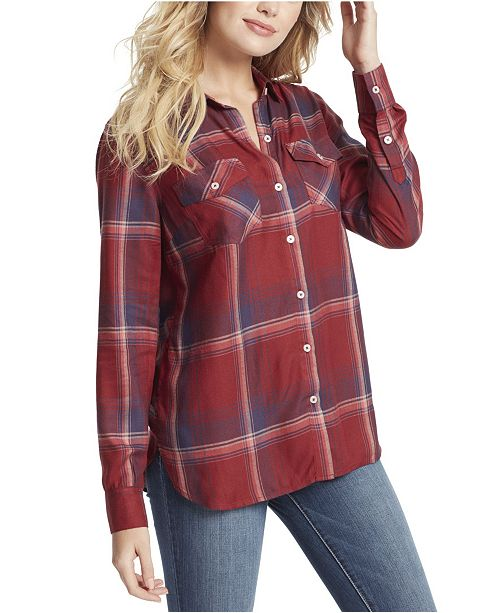 Jessica Simpson Junior Petunia Plaid Button Up Shirt Top