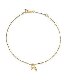 Dolphin Charm Anklet in 14k Yellow Gold