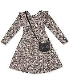 Speechless Little Girls Animal-Print Dress & Cat Purse