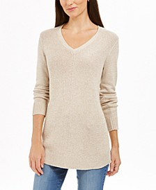 Petite Marled V-Neck Sweater, Created For Macy's