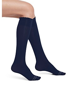HUE Women's Graduated Compression Opaque Knee High Socks